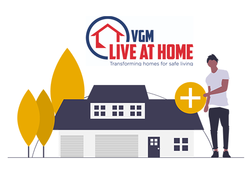 illustration of man standing in front of house with VGM Live At Home logo